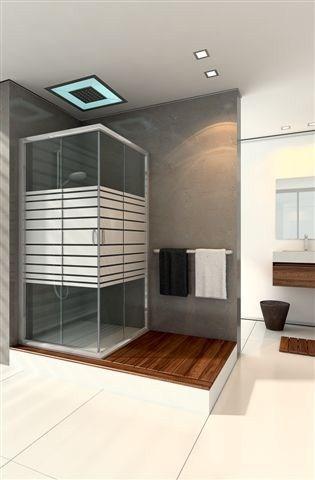 מקלחון מרובע ללא פרופילים לאורך הזכוכית