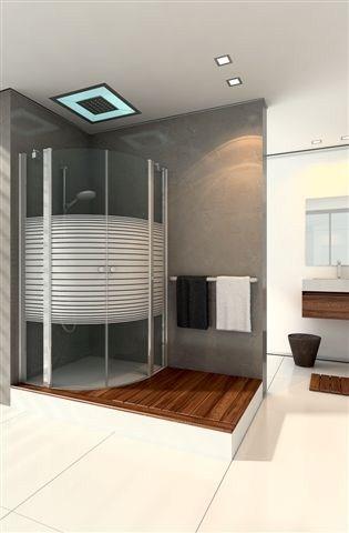 מקלחון מעוגל בעל שתי דפנות ושתי דלתות