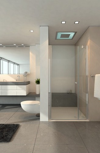 חזית מקלחון מורכבת מדופן קבועה ודלת
