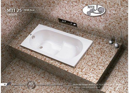 אמבטית ישיבה אקרילית 140X70