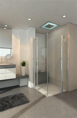 מקלחון מרובע שתי דפנות קבועות ושתי דלתות