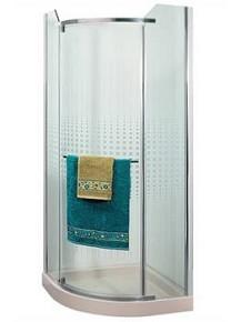"""מקלחון פינתי מעוגל זכוכית 8 מ""""מ"""