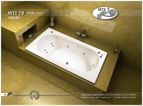 אמבטיה אקרילית מלבנית 180X80