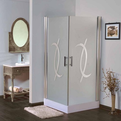 מקלחון פינתי מרובע, 2 דלתות על ציר