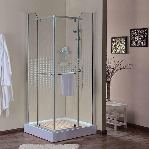 """מקלחון פינתי מרובע 2 דלתות קבועות ו-2 דלתות על ציר 86/88 ס""""מ"""