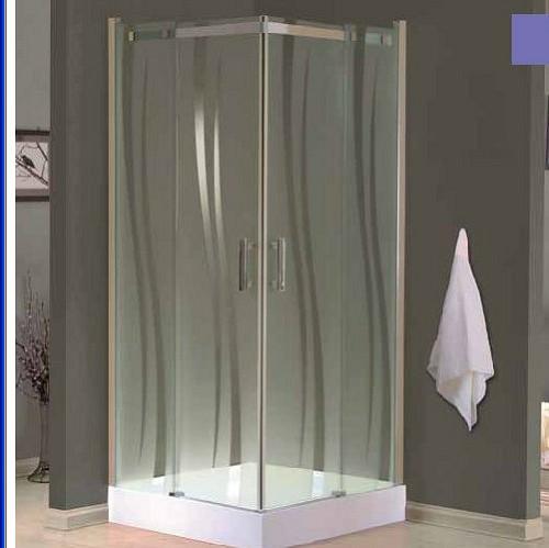 מקלחון פינתי מרובע – 2 דלתות קבועות ו-2 דלתות הזזה 80X80