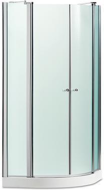 מקלחון פינתי מעוגל , 2 דלתות קבועות , בשילוב 2 דלתות על ציר