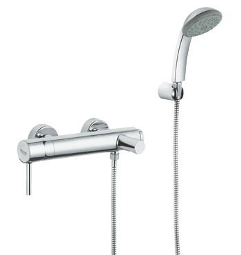 סוללת קיר לאמבטיה עם מזלף וצינור גמיש