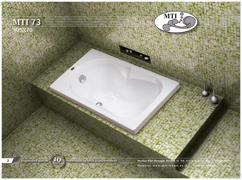 אמבטיה אקרילית מלבנית 105X70