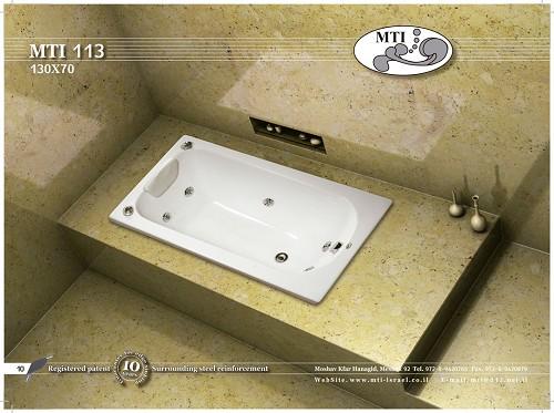 אמבטיה אקרילית מלבנית 130X70