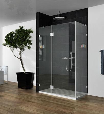 """מקלחון פינתי מרובע 111-130 ס""""מ – זכוכית שקופה"""