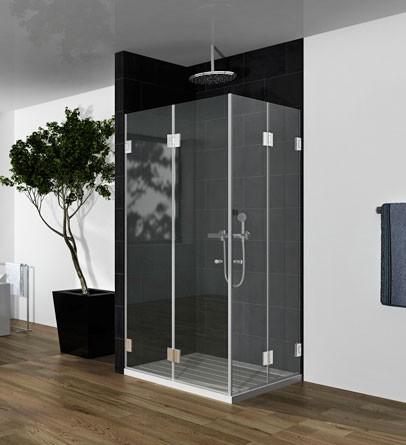 """מקלחון פינתי בצורת אקורדיון 70-80 ס""""מ זכוכית שקופה"""