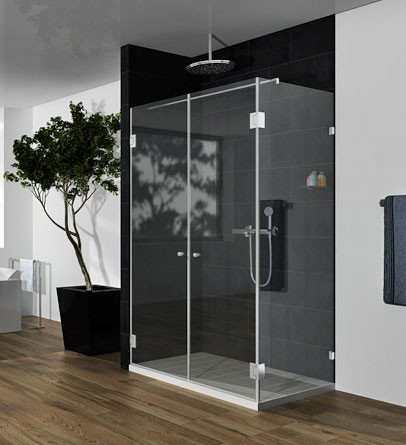 """מקלחון פינתי מרובע 91-110 ס""""מ זכוכית שקופה"""