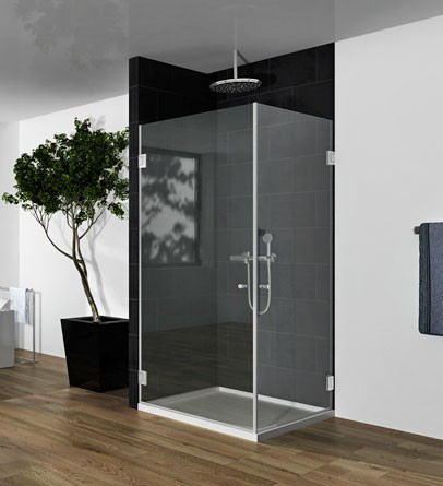"""מקלחון פינתי מרובע 60-80 ס""""מ זכוכית מחוסמת 6 מ""""מ שקופה"""