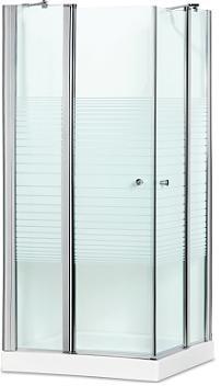 מקלחון פינתי מרובע , 2 דלתות קבועות , בשילוב 2 דלתות על ציר