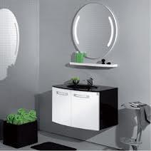 """ארון אמבטיה תלוי צבוע אפוקסי עם חזית עגולה דגם """"קמליקה"""""""