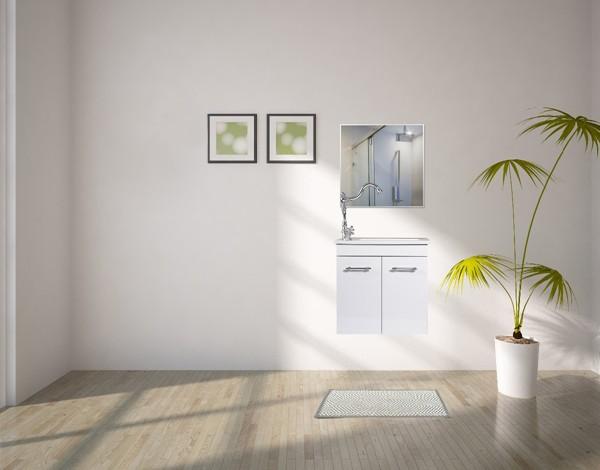 """ארון אמבטיה דגם מיני אלון – קומפלט תלוי 50 ס""""מ מראה חלק"""