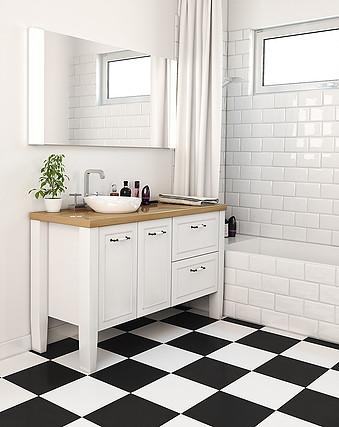 ארון מעוצב לאמבטיה עם משטח מעץ אלון (בוצ'ר)