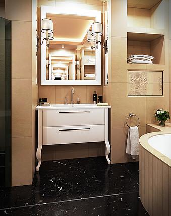 ארון אמבטיה סנדויץ עם רגליים מעץ גושני ומשטח חרס אינטגרלי