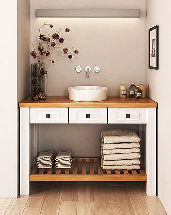 ארון מעוצב עם מגירות ומשטח מעץ אלון (בוצ'ר) וחלק תחתון מעץ מלא למגבות.