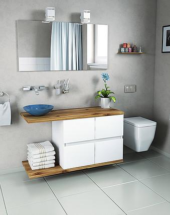 ארון אמבטיה דגם ספרטה – גוף סנדויץ ומשטח בוצ'ר עץ אלון