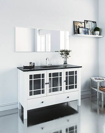 ארון מעוצב לאמבטיה מעץ סנדוויץ ורגליים מעץ גושני, משטח זכוכית.