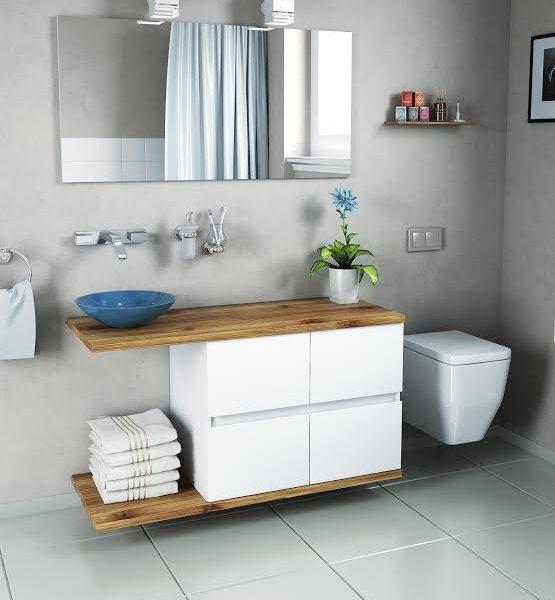ארון אמבטיה דגם ספרטה – עם משטח (בוצ'ר) עץ אלון – 4 מגירות טריקה שקטה