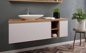 ארון אמבטיה גוף סנדוויץ עם משטח בוצ'ר – עץ אלון צבע אפוקסי טריקה שקטה