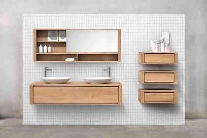 ארון אמבטיה מעץ אורן מלא – מידות 90/140/185 מנגנונים BLUM