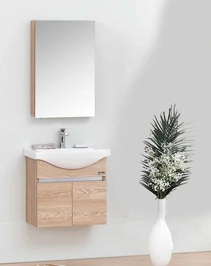 """ארון אמבטיה 55 ס""""מ תלוי עם כיור וחילק עליון – מראה נפתחת – טריקה שקטה"""