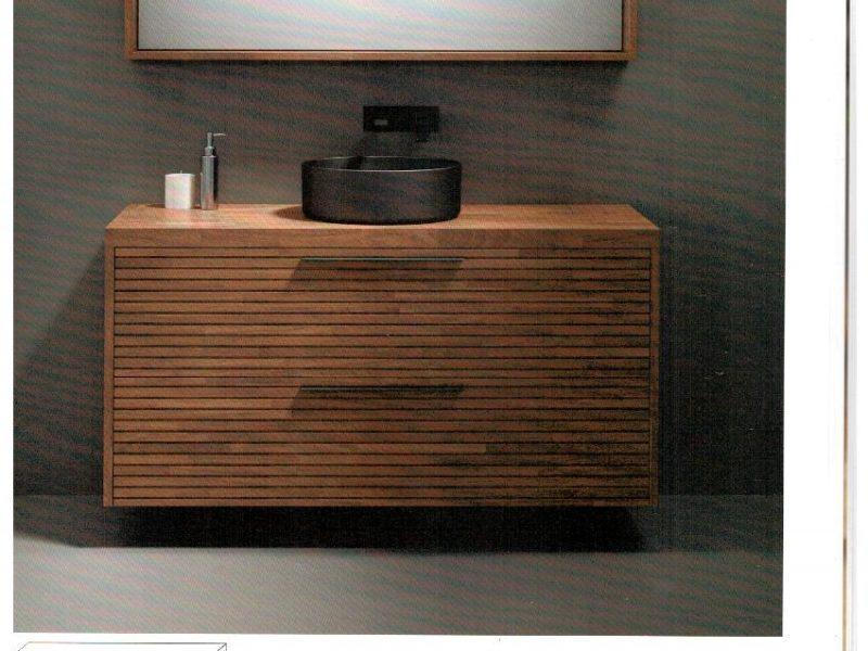ארון אמבטיה תלוי, גוף חזית ומשטח בוצ'ר עץ אלון – מידות 60/70/75/80/90/100/110/120